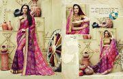 Plain Silk Chiffon Sarees by Jaanvi Designer