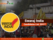 Swaraj India Candidates List 2017