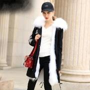 Quantity: 10 pcs Fashion Long style coats Parka Fox Collar Genuine lea