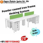 Powder coated iron frame office desking system