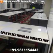 Powder coated iron frame open based modular workstation